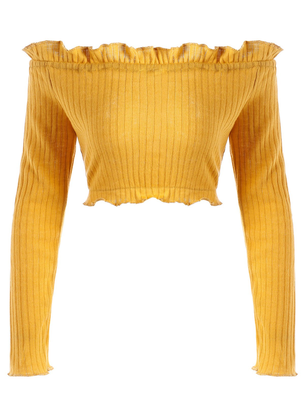 Off The Shoulder Cropped Ruffle Sweater - EARTHY XL