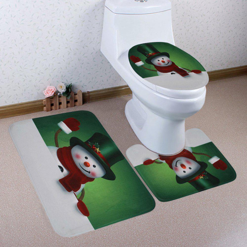 Christmas Snowman Greet Pattern 3 Pcs Bathroom Toilet Mat christmas home decor snowman double table mat