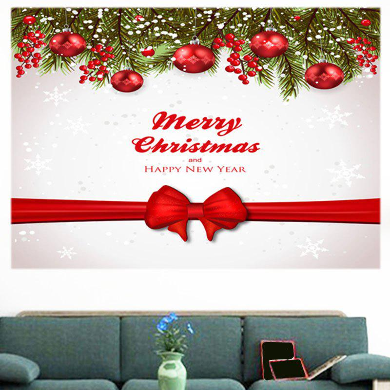 Christmas Balls Bowknot Belt Pattern Multifunction Wall Sticker - RED / WHITE 1PC:24*24 INCH( NO FRAME )