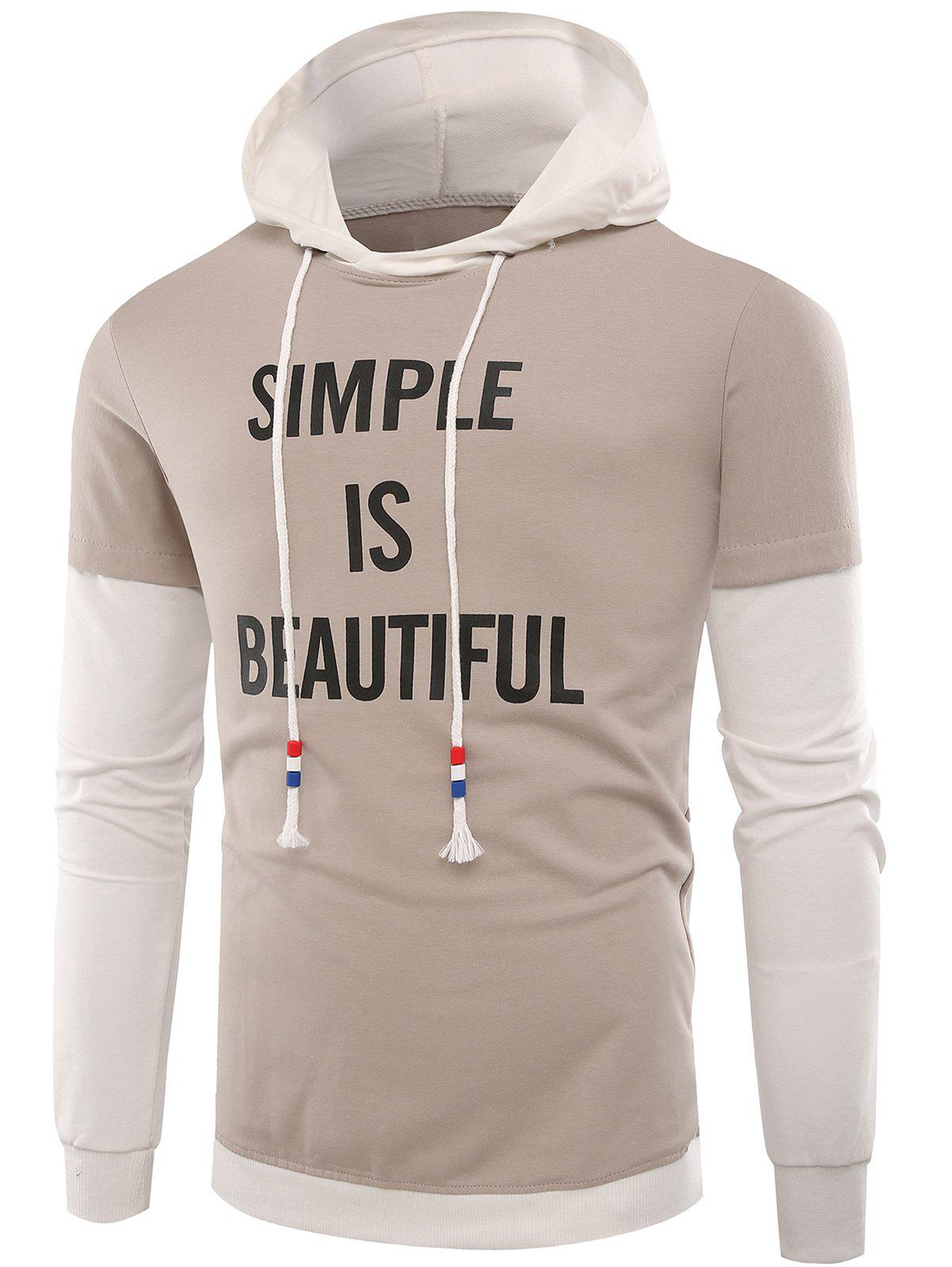 Slogan Print Color Block Hoodie - APRICOT 2XL