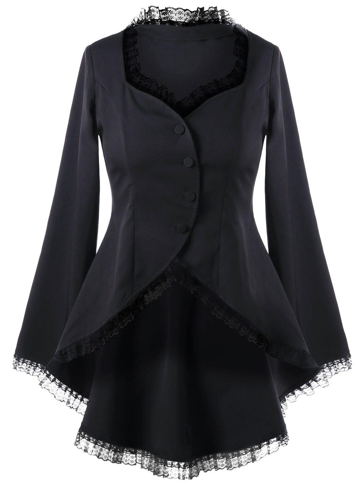Lace Trim Sweetheart Neck Dip Hem Coat - BLACK 2XL