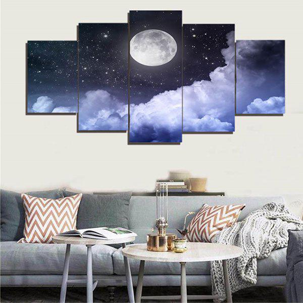 Unframed Moon Starry Sky Canvas Painting - BLUE 1PC:8*20,2PCS:8*12,2PCS:8*16 INCH( NO FRAME )