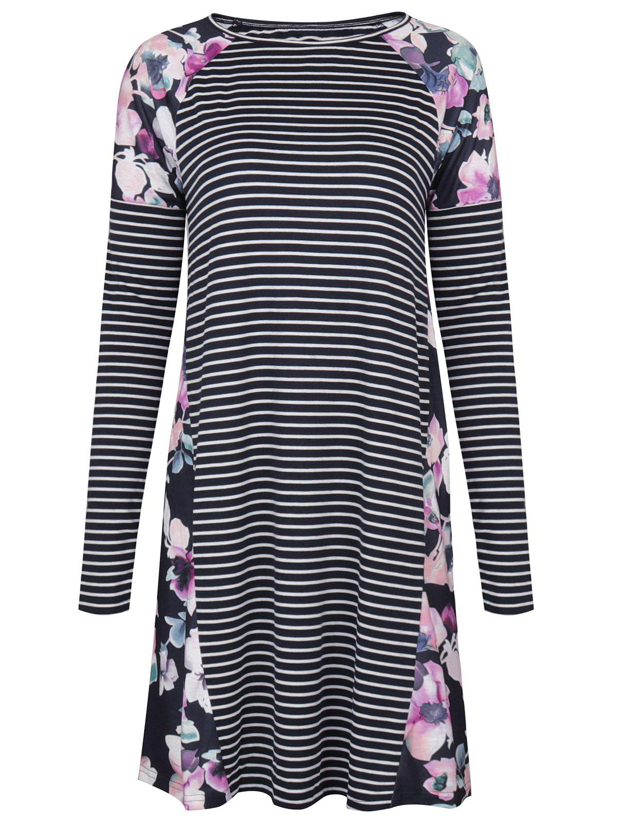 Raglan Sleeve Floral Print Striped Dress - PURPLISH BLUE XL