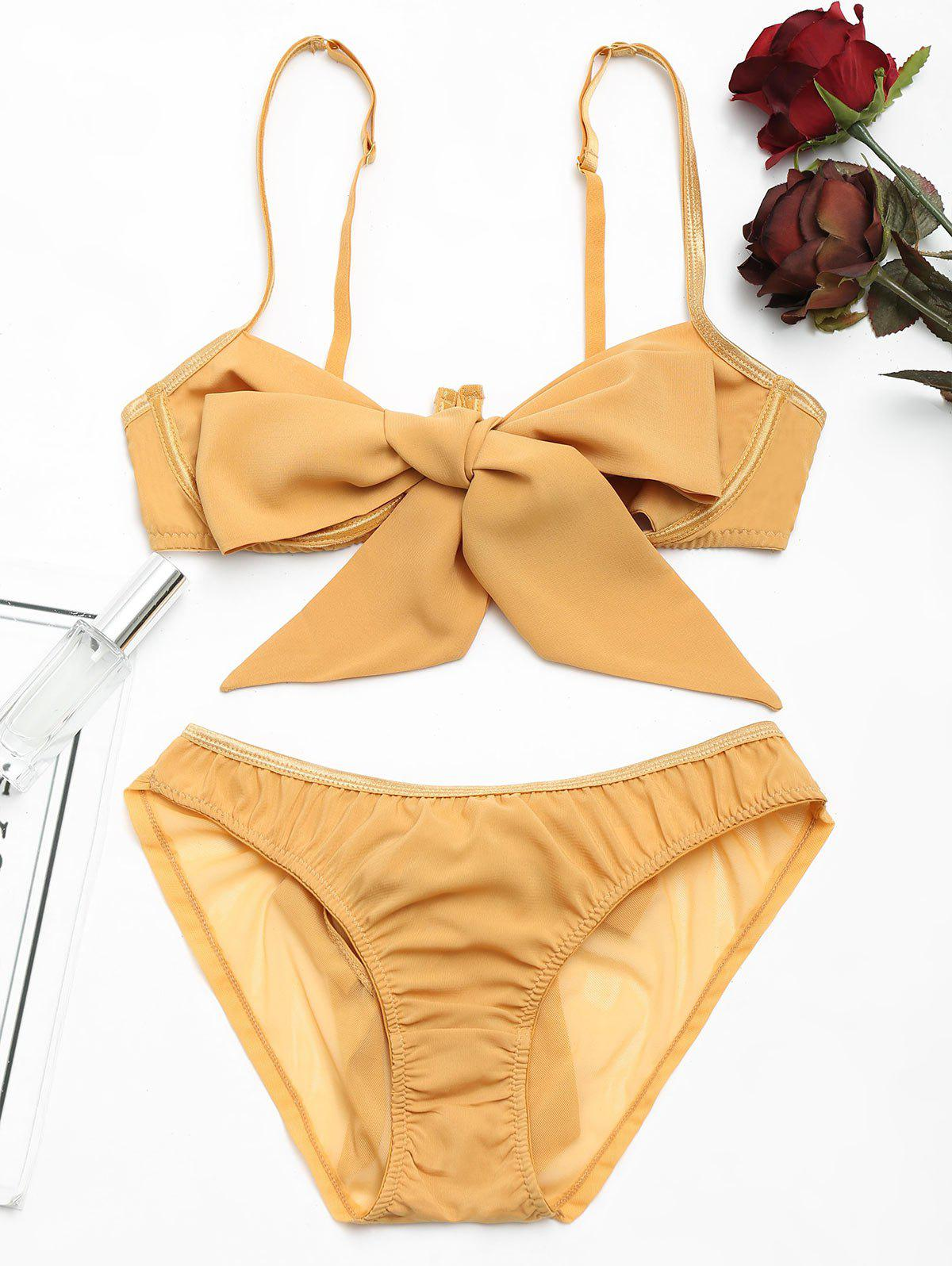 Underwire Bow Tied Bra Set - GINGER L
