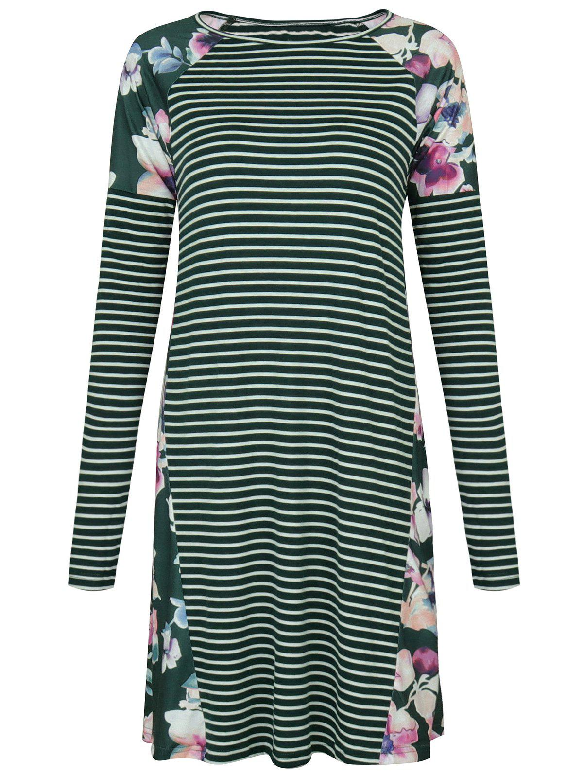 Raglan Sleeve Floral Print Striped Dress - GREEN S