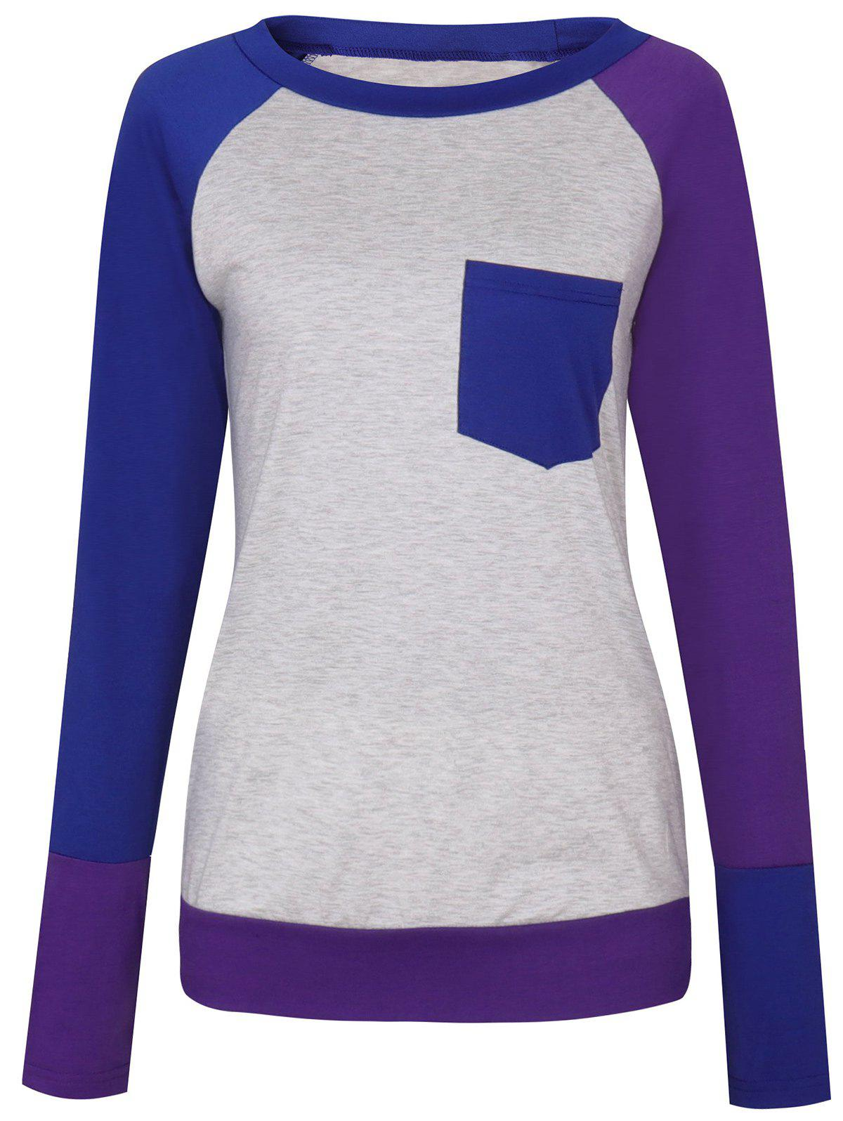 Color Block Raglan Sleeve Pocket T-shirt - PURPLE S