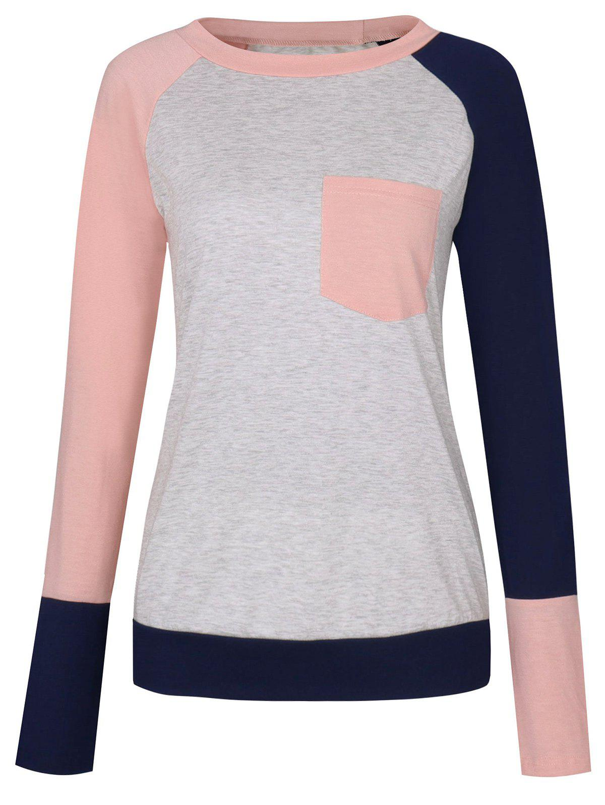 Color Block Raglan Sleeve Pocket T-shirt - PINK L