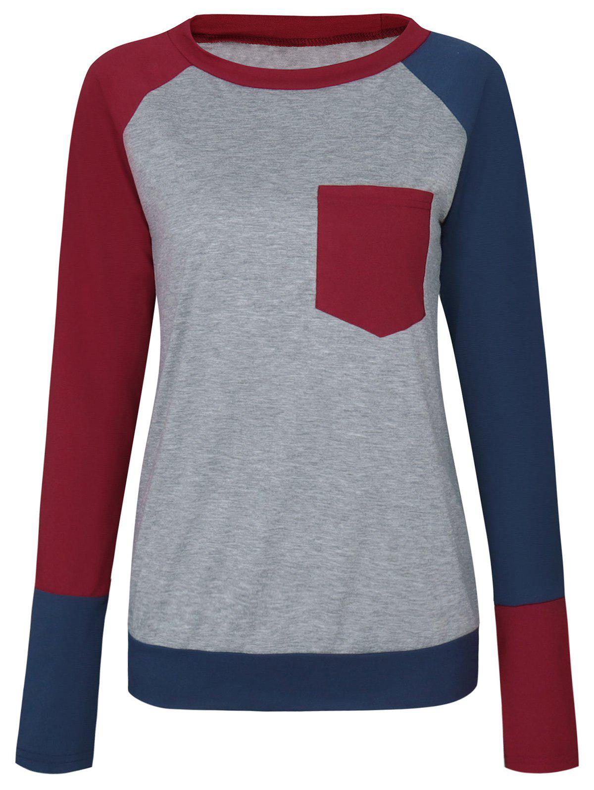Color Block Raglan Sleeve Pocket T-shirt - WINE RED S