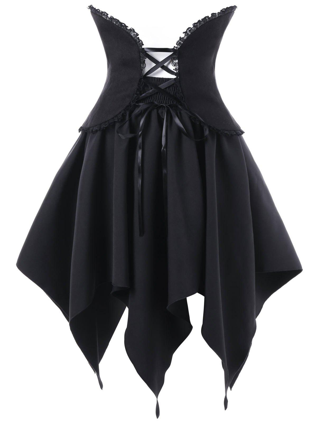 Halloween Lace Up Handerchief Skirt with Corset Belt - BLACK 2XL