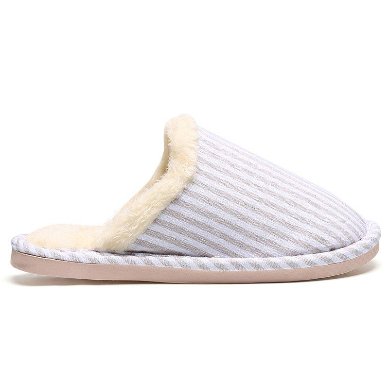 Faux Fur Padded Pinstripe Warm Slippers - OFF WHITE SIZE(40-41)