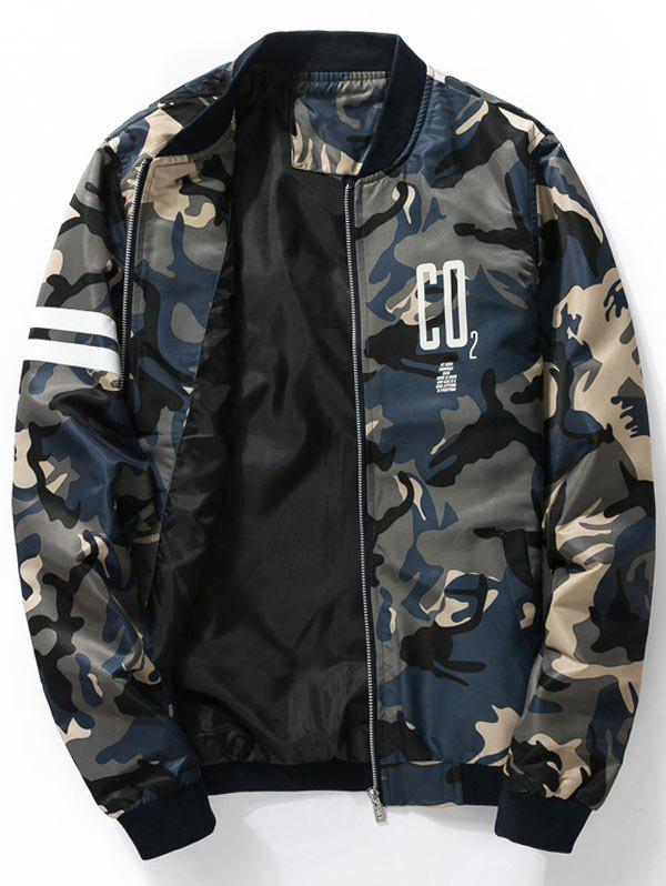 Graphic Printed Camo Bomber Jacket - CADETBLUE L