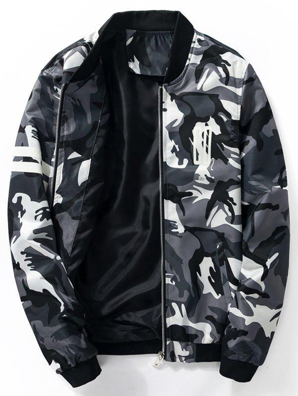 Graphic Printed Camo Bomber Jacket - DEEP GRAY L