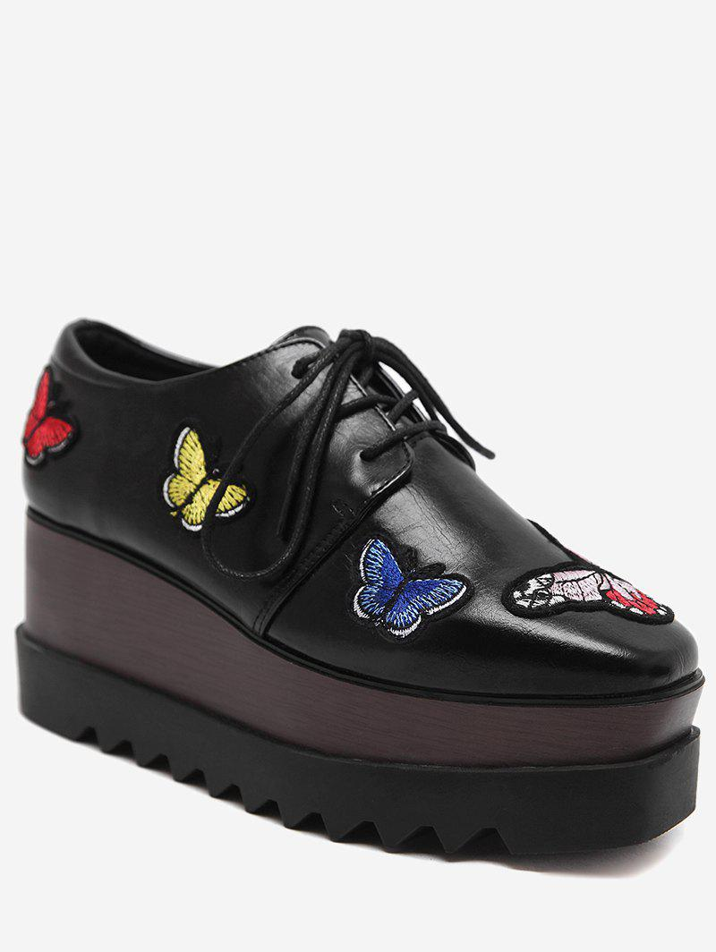 Butterfly Embroidery PU Leather Wedge Shoes - BLACK 38