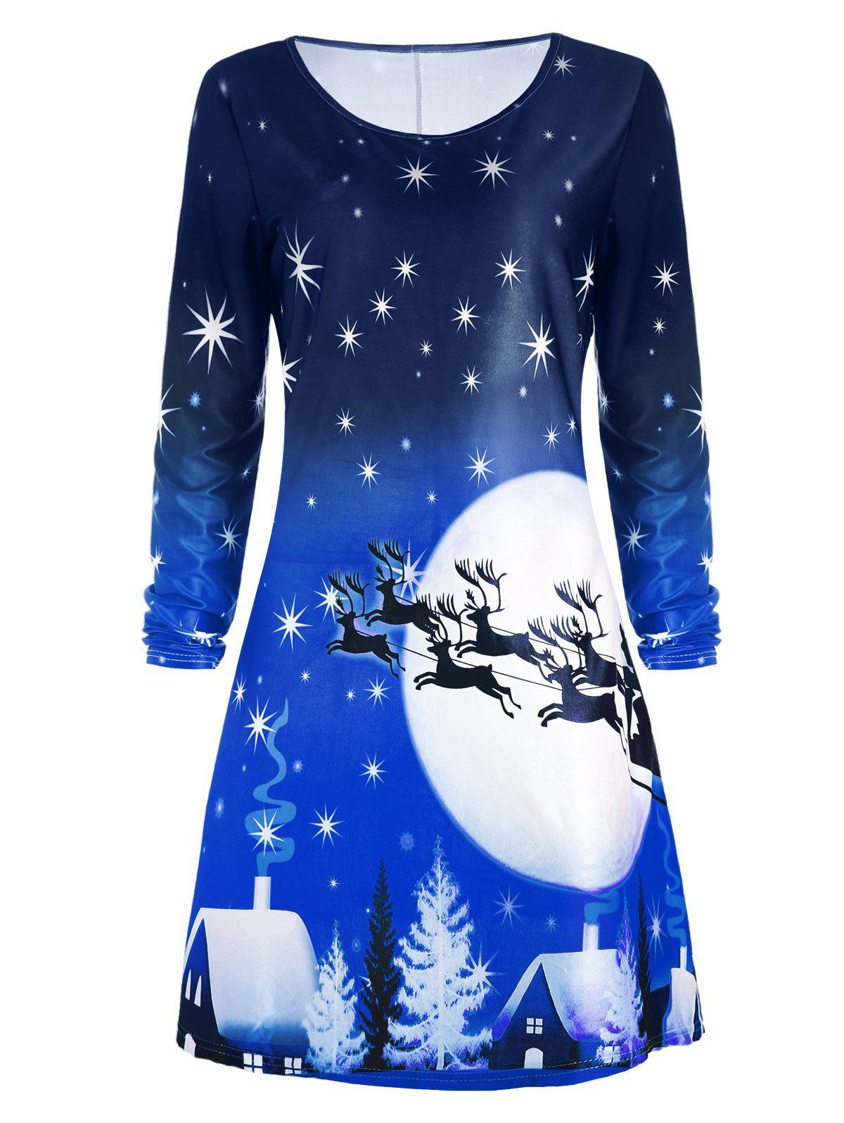Christmas Deer Long Sleeve Dress - BLUE S