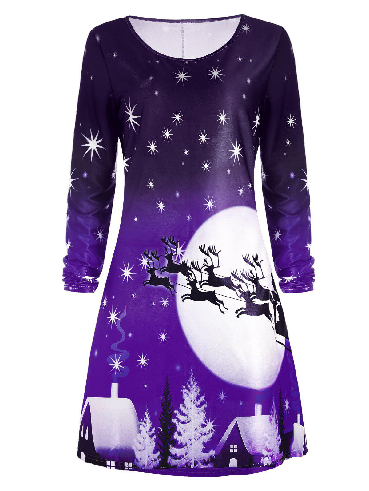 Christmas Deer Long Sleeve Dress - PURPLE M