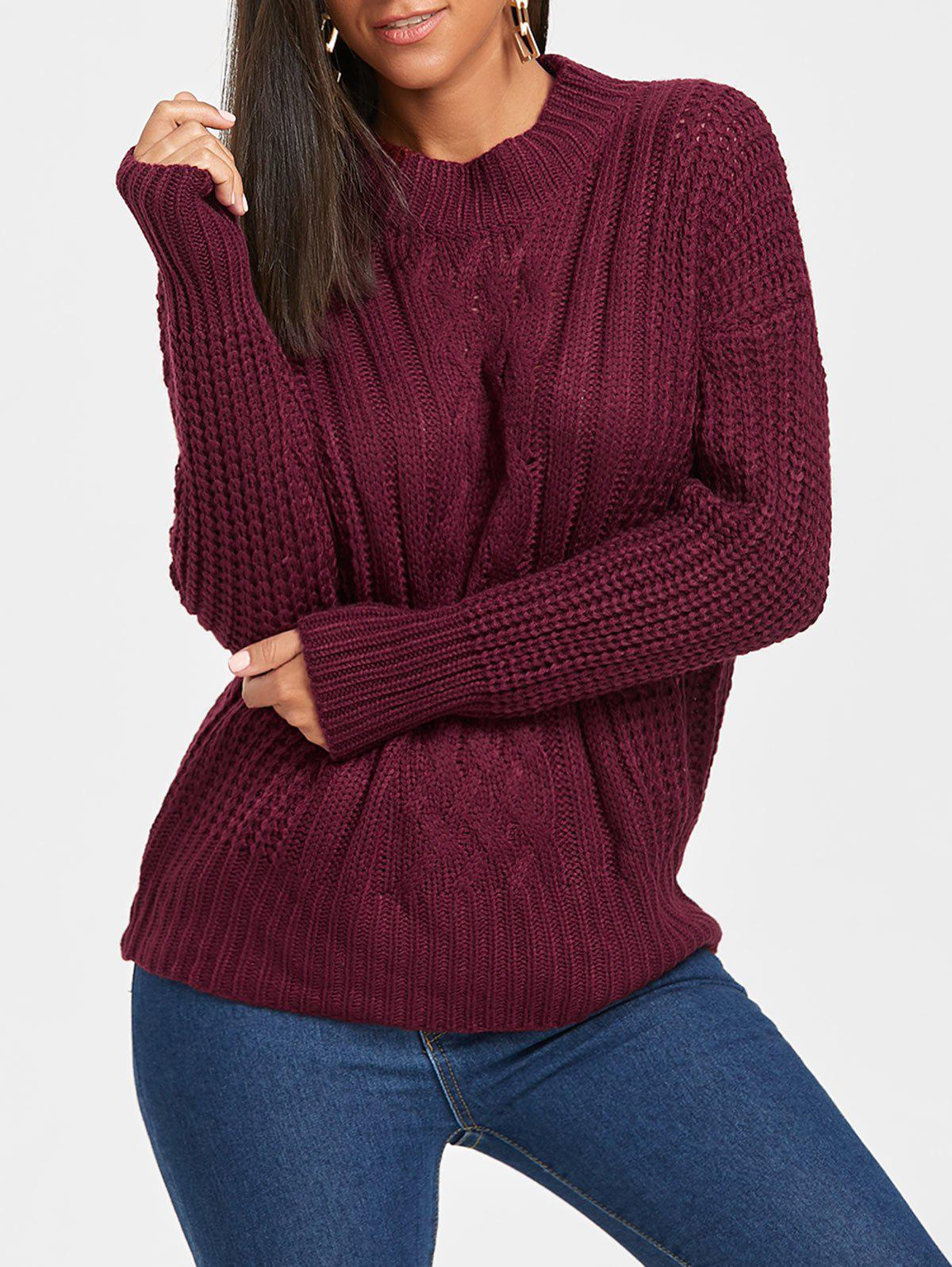 Mock Neck Cable Knitted Sweater skew neck cable knitted sweater