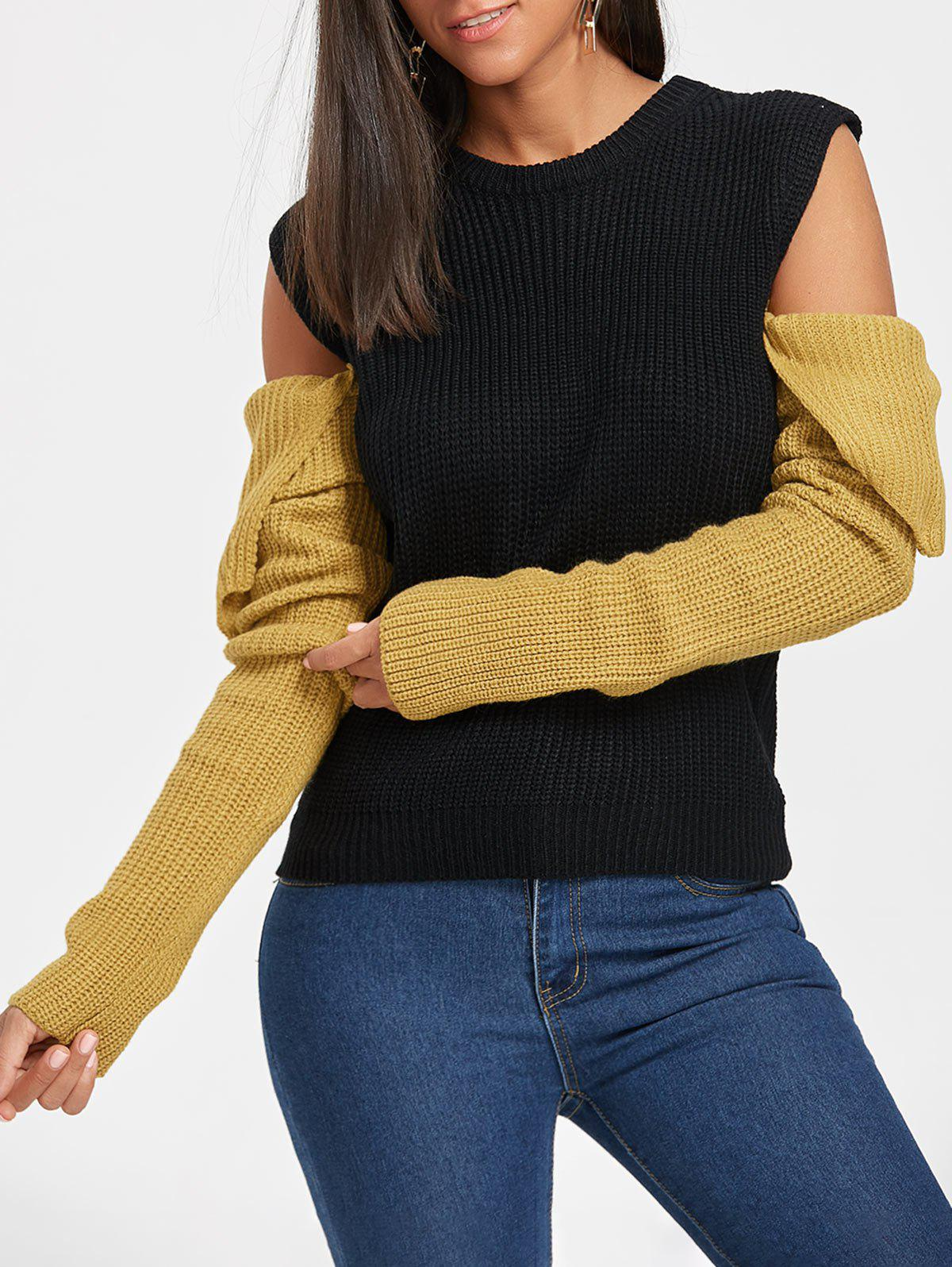 Color Blocking Cold Shoulder Sweater - BLACK ONE SIZE