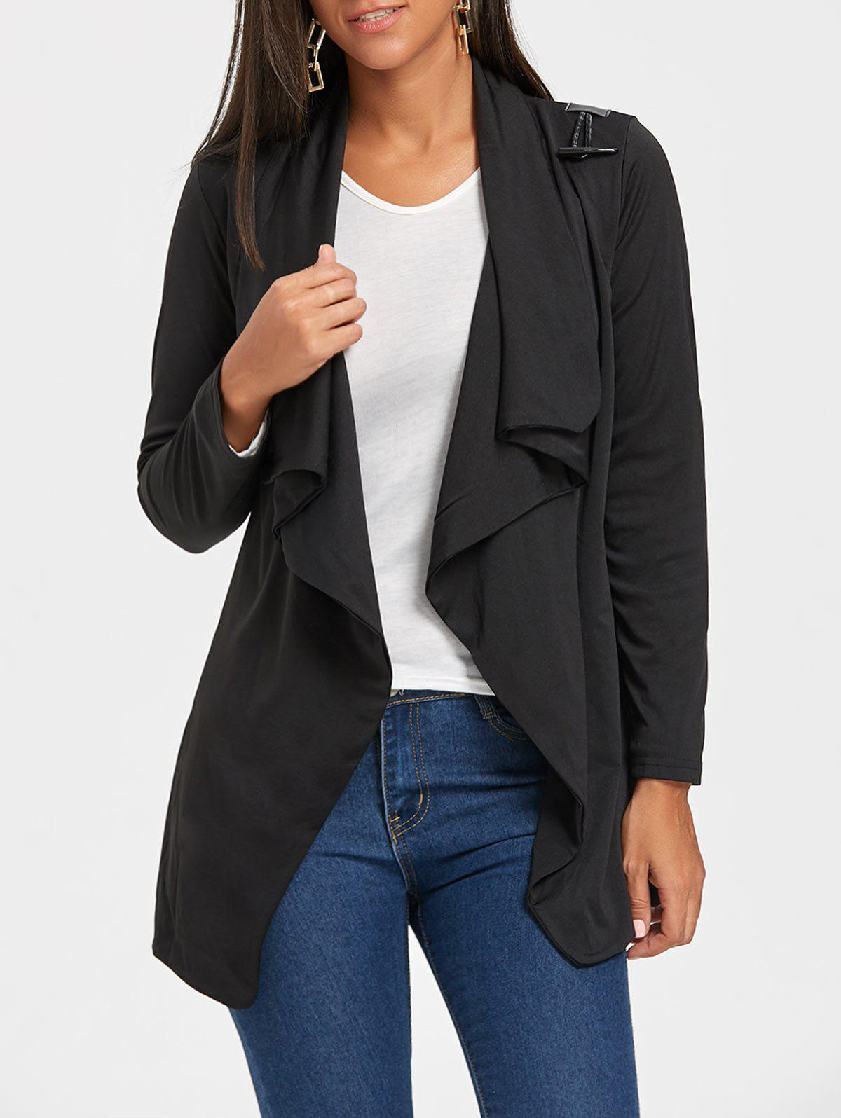 Long Sleeve Draped Tunic Cardigan - BLACK M