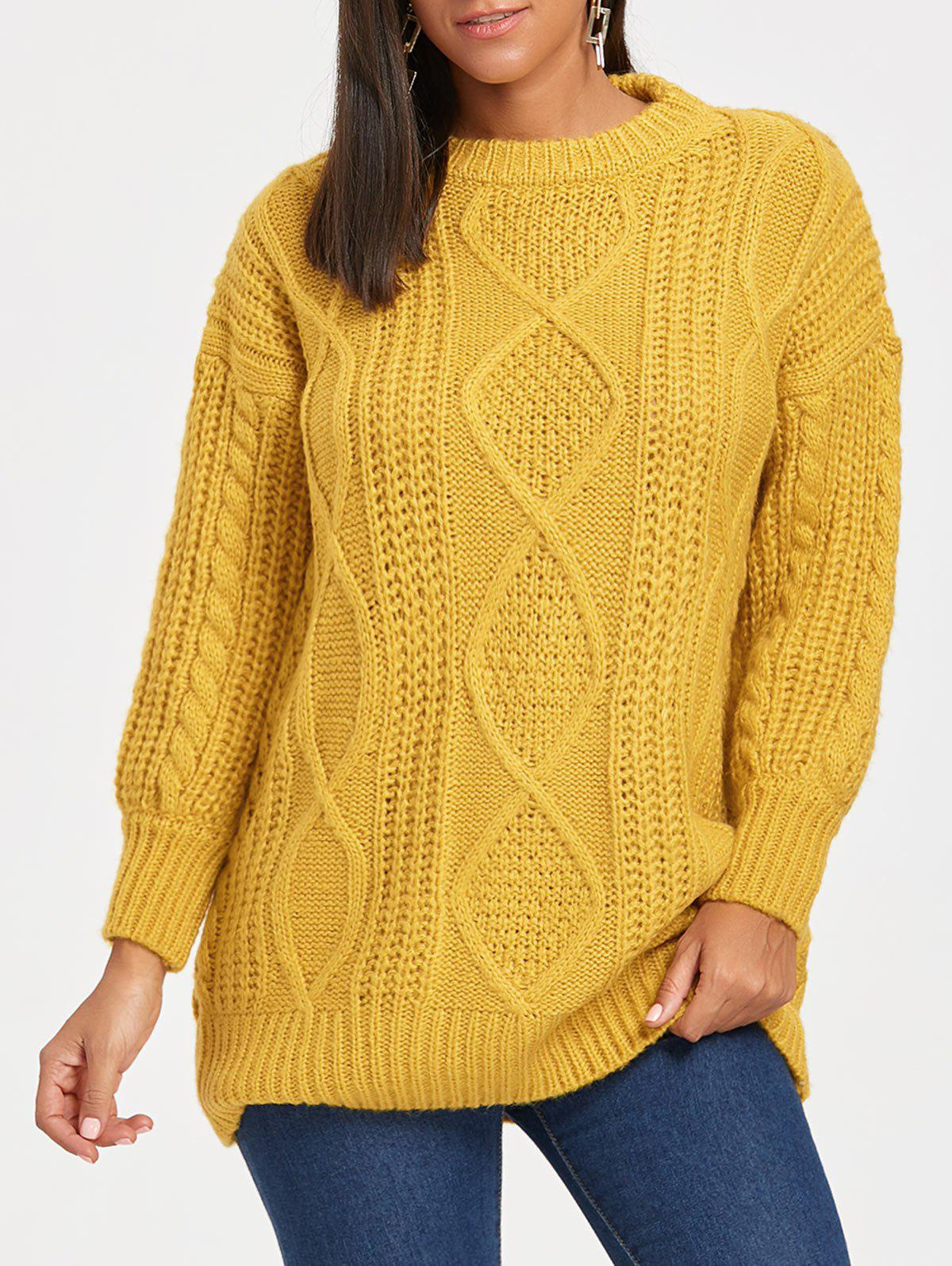 Puff Sleeve Open Front Cable Knit Sweater - GINGER ONE SIZE