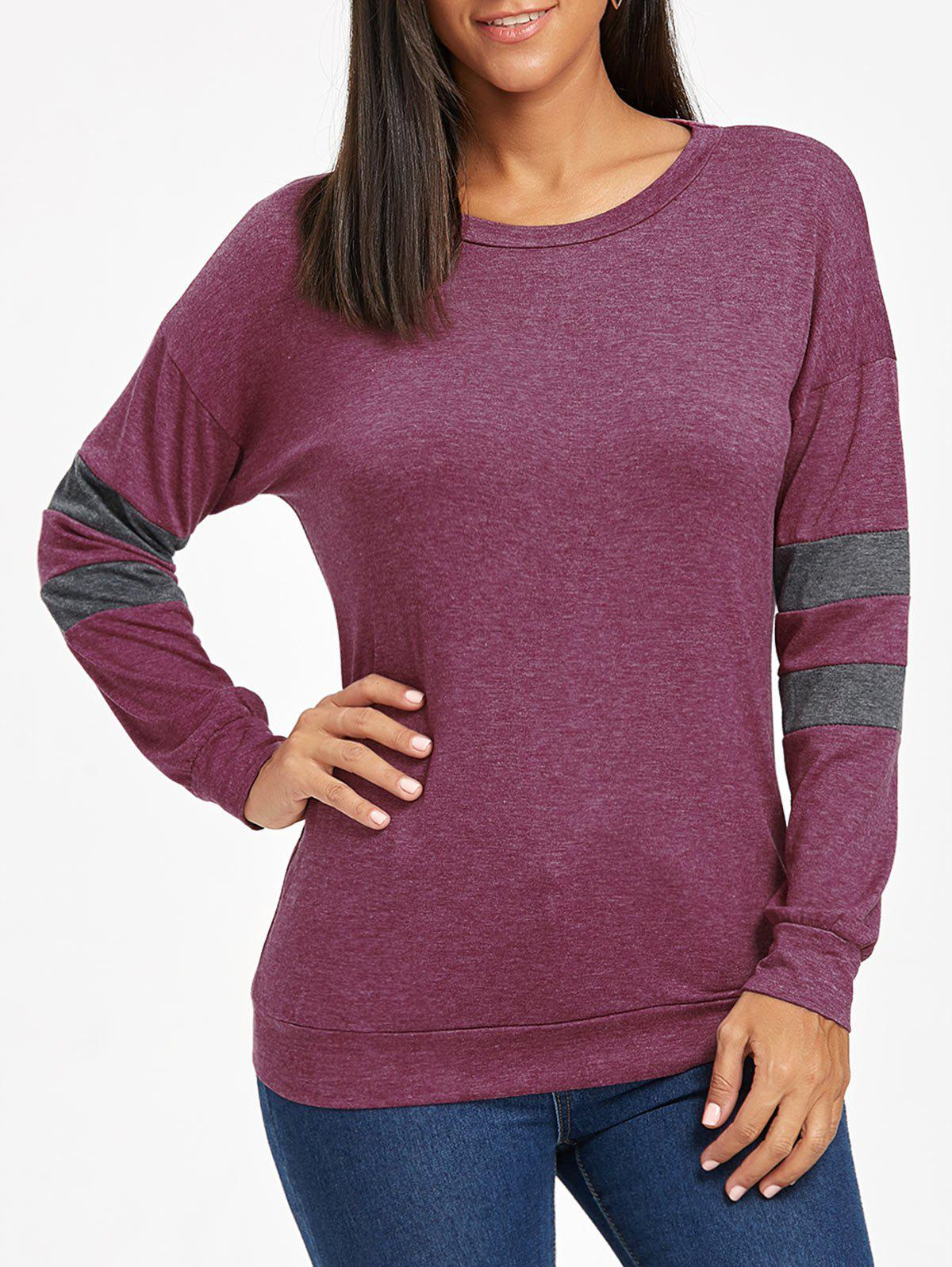 Drop Shoulder Color Block Tunic Sweatshirt - PURPLE M