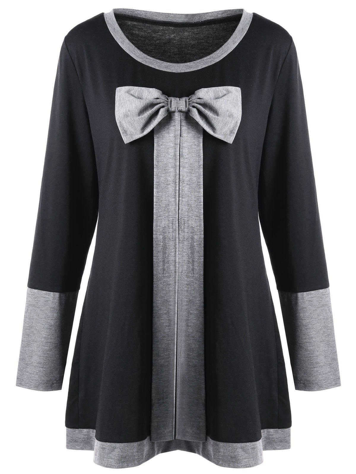 Plus Size Bowknot Embellished Tunic Top - BLACK XL