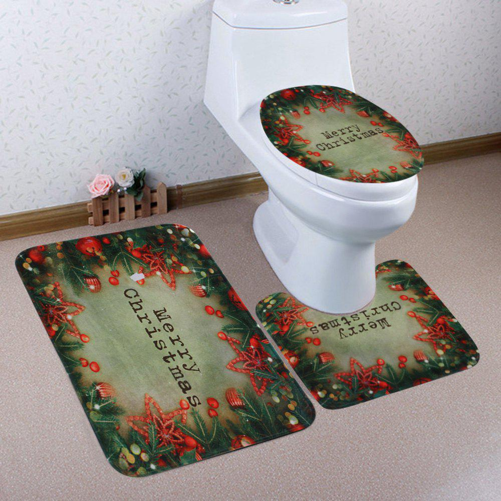 Christmas Tree Decorations Pattern 3 Pcs Bathroom Toilet Mat - COLORMIX