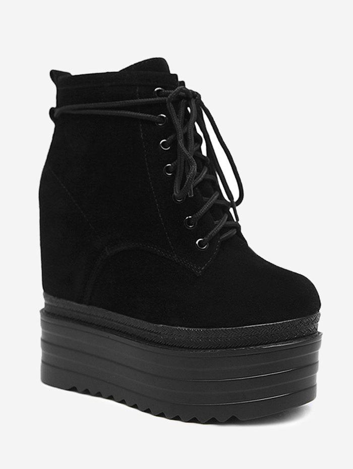 Platform Tie Up Ankle Boots - BLACK 35/5.5