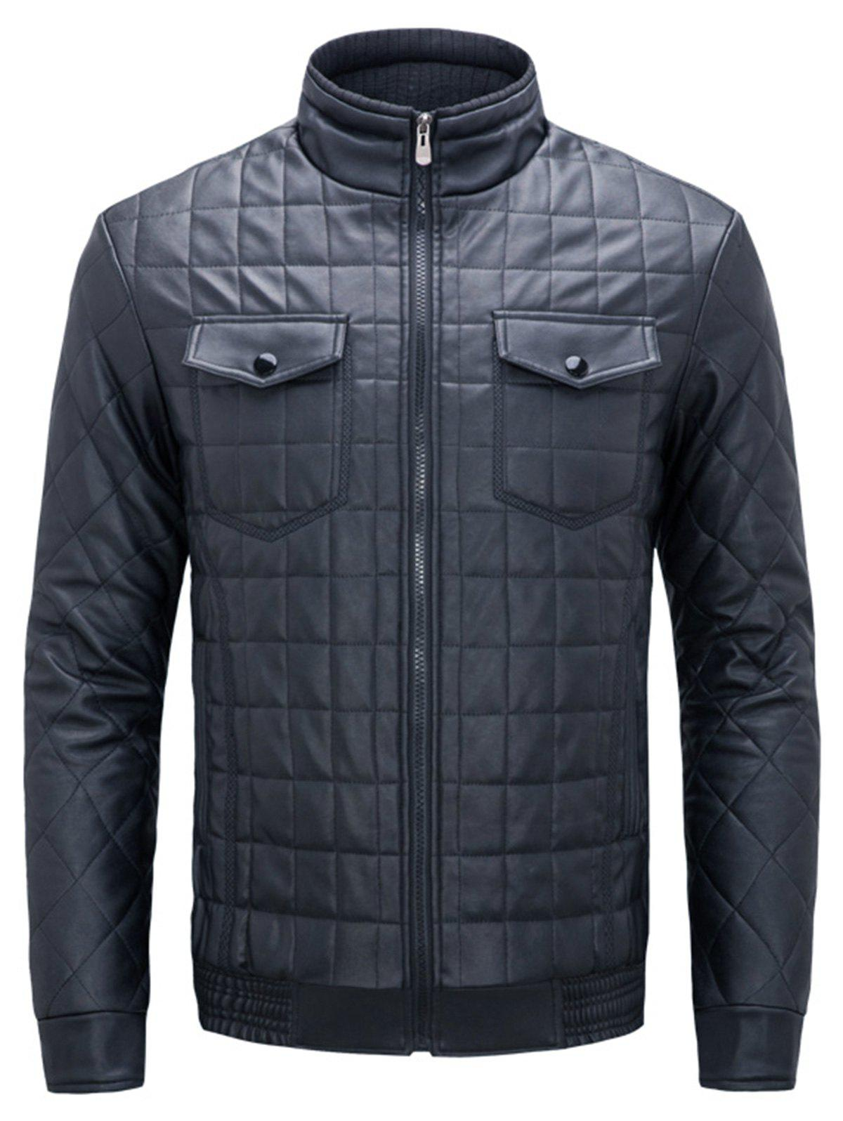 Quilted Grid Stand Collar Faux Leather Jacket - BLUE XL