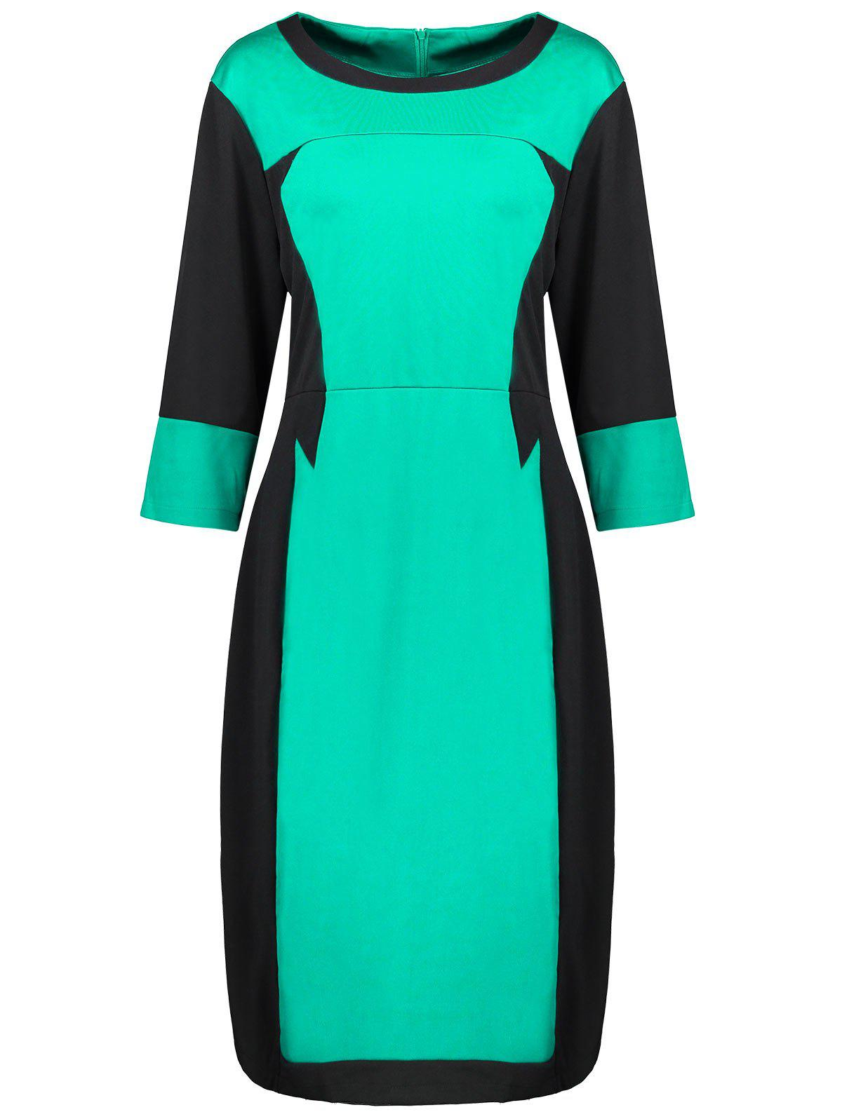 Plus Size Two Tone Work Dress - MINT GREEN 3XL