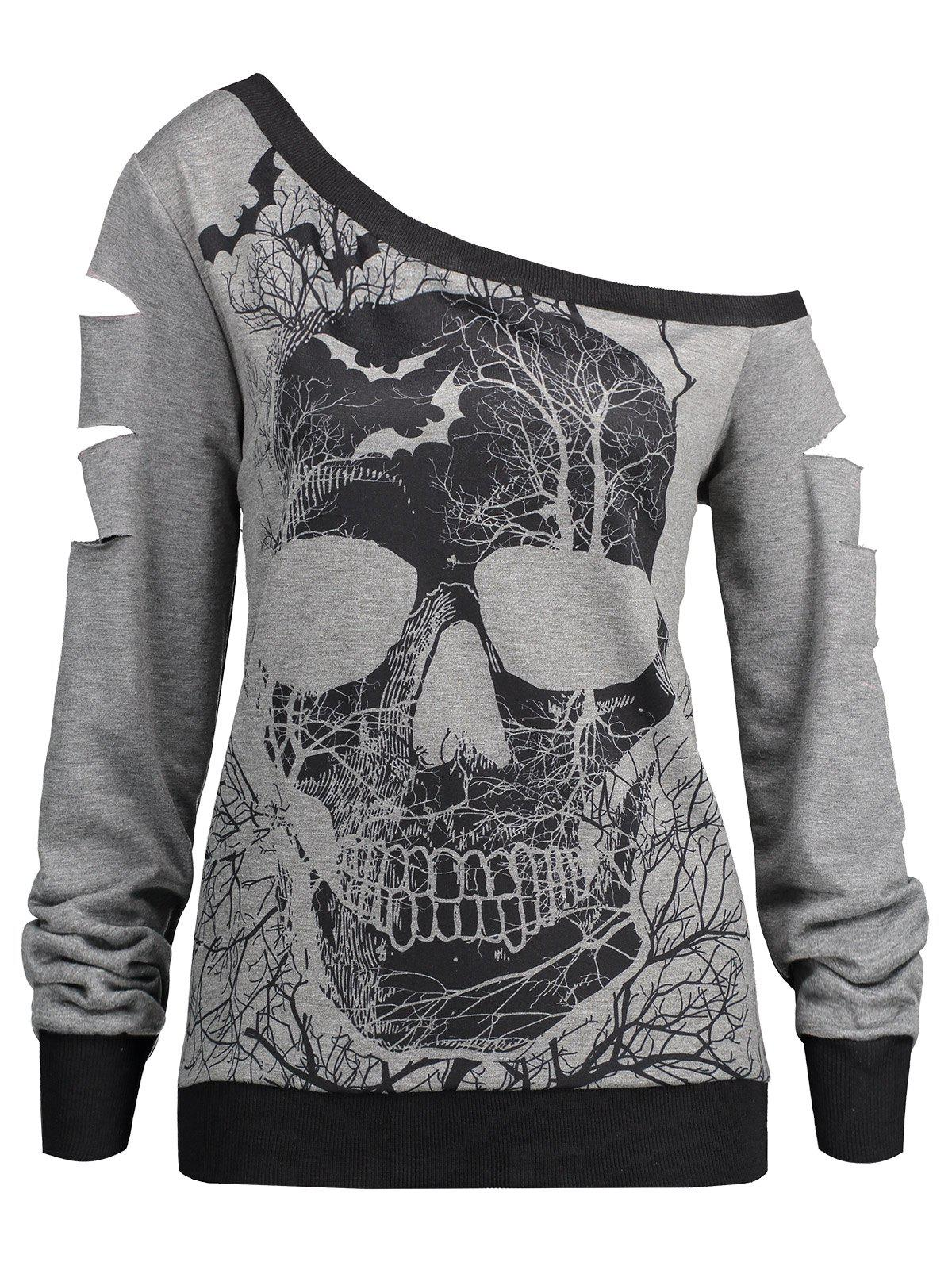 Halloween Skull Print Ripped Skew Neck Sweatshirt - LIGHT GRAY XL