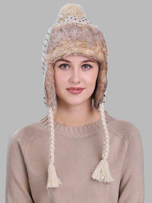 2018 Soft Christmas Snowflake Pattern Knitted Trapper Hat Beige In