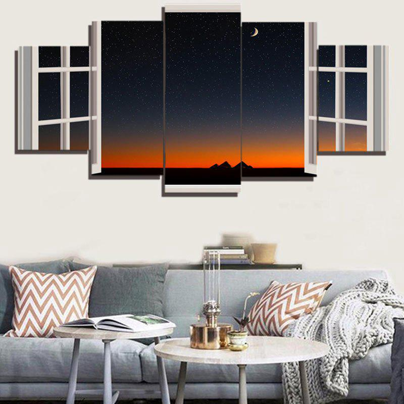 Nightsky Window Split Wall Art Paintings - COLORFUL 1PC:12*31,2PCS:12*16,2PCS:12*24 INCH( NO FRAME )