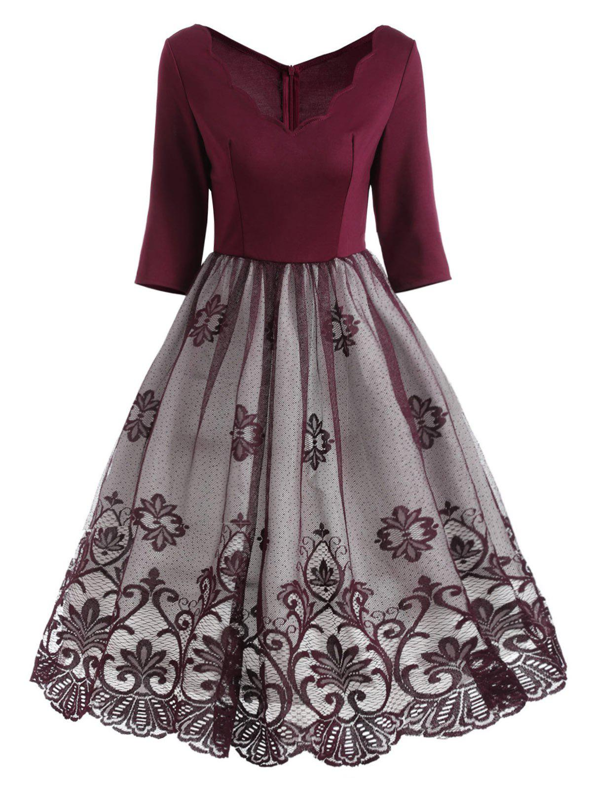 Floral Lace Panel V Neck Vintage Dress - WINE RED L