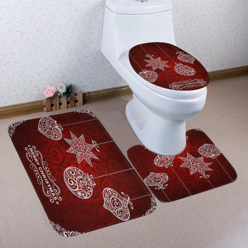 Merry Christmas Ball Pattern 3 Pcs Bathroom Toilet Mat - DEEP RED