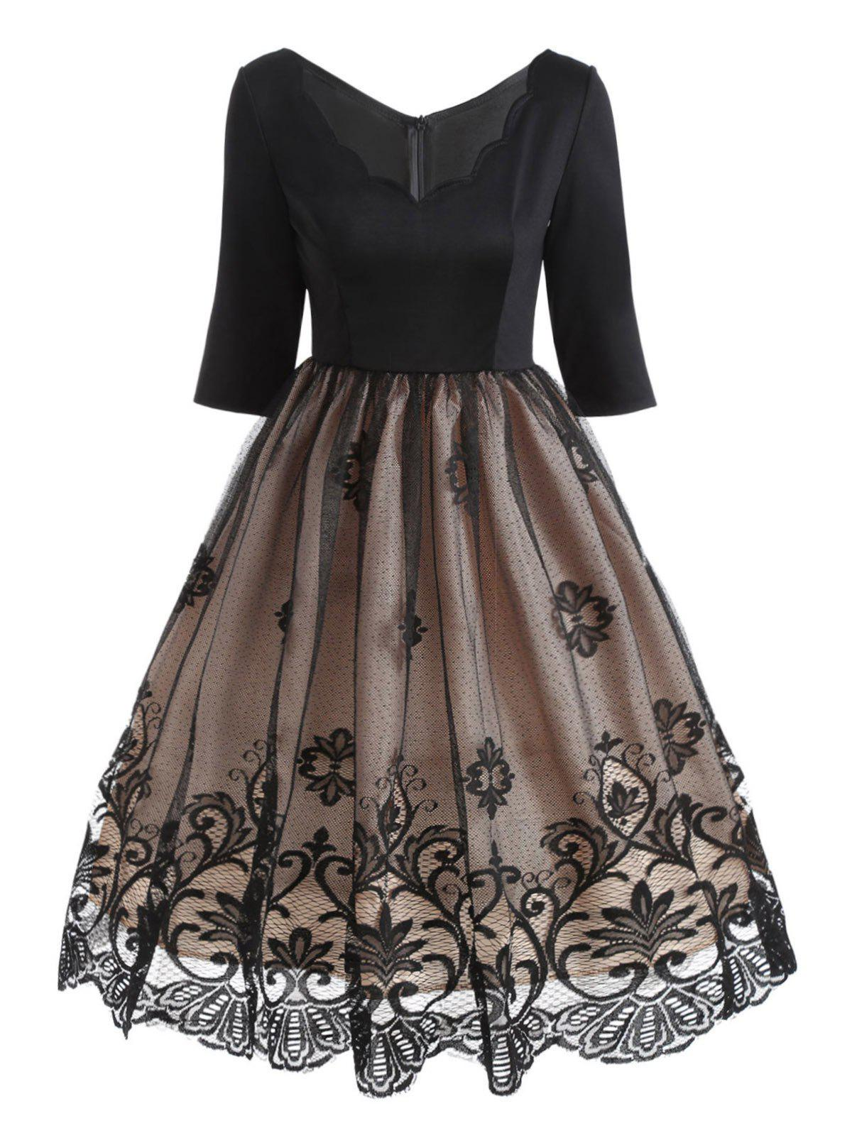 Floral Lace Panel V Neck Vintage Dress - BLACK M