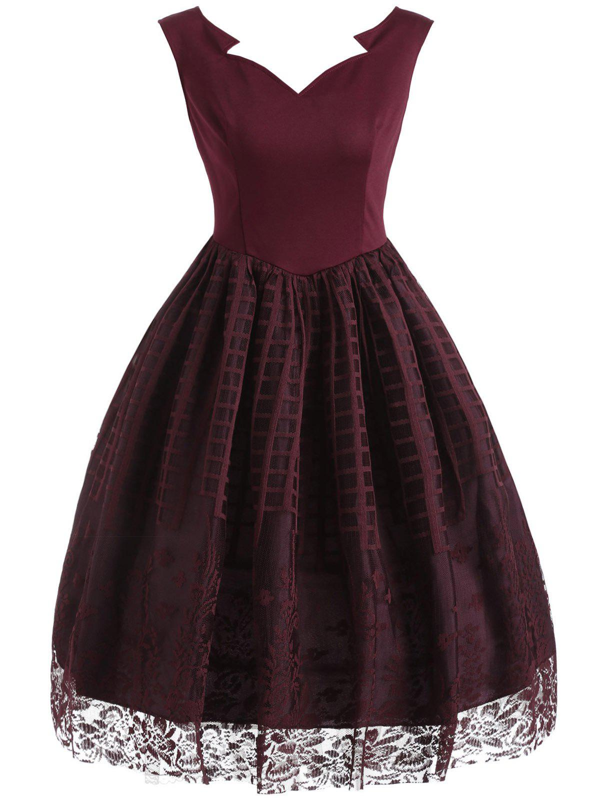 Plaid Floral Lace Sleeveless Vintage Dress - Rouge vineux L
