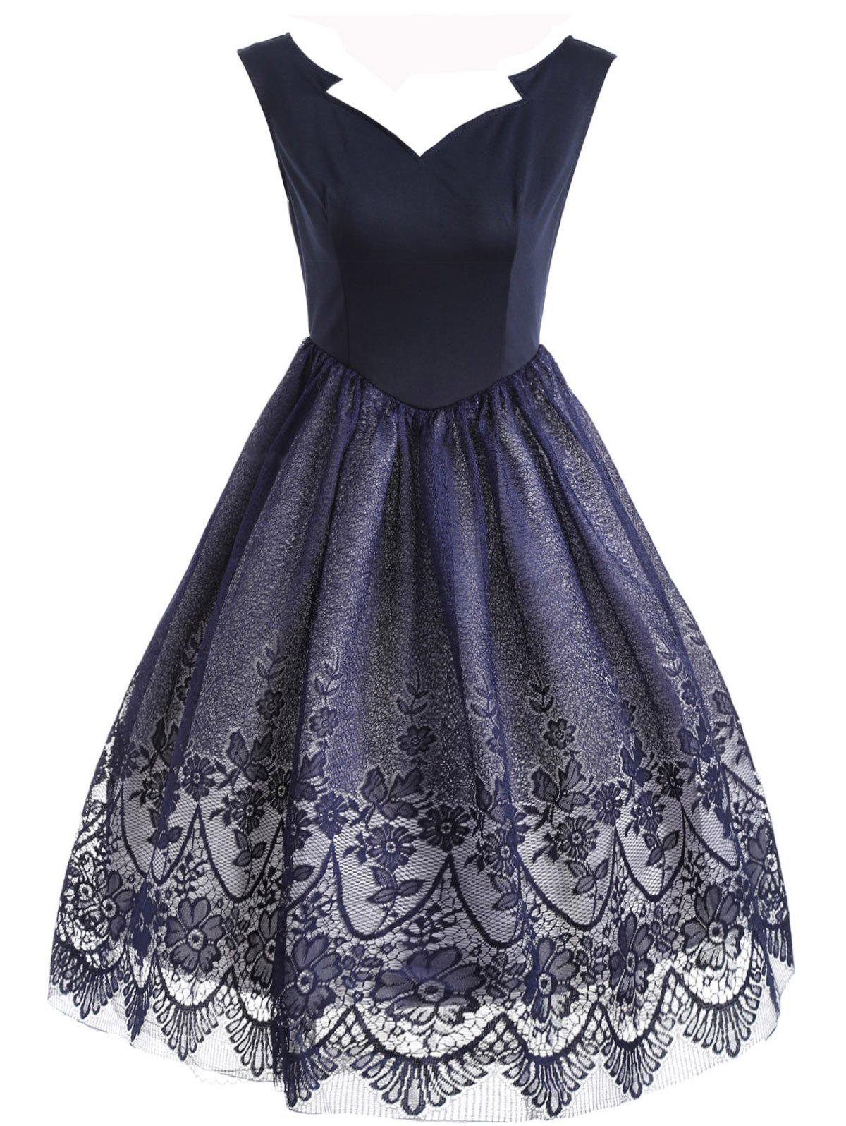 Floral Lace Sleeveless Overlay Vintage Dress - PURPLISH BLUE S