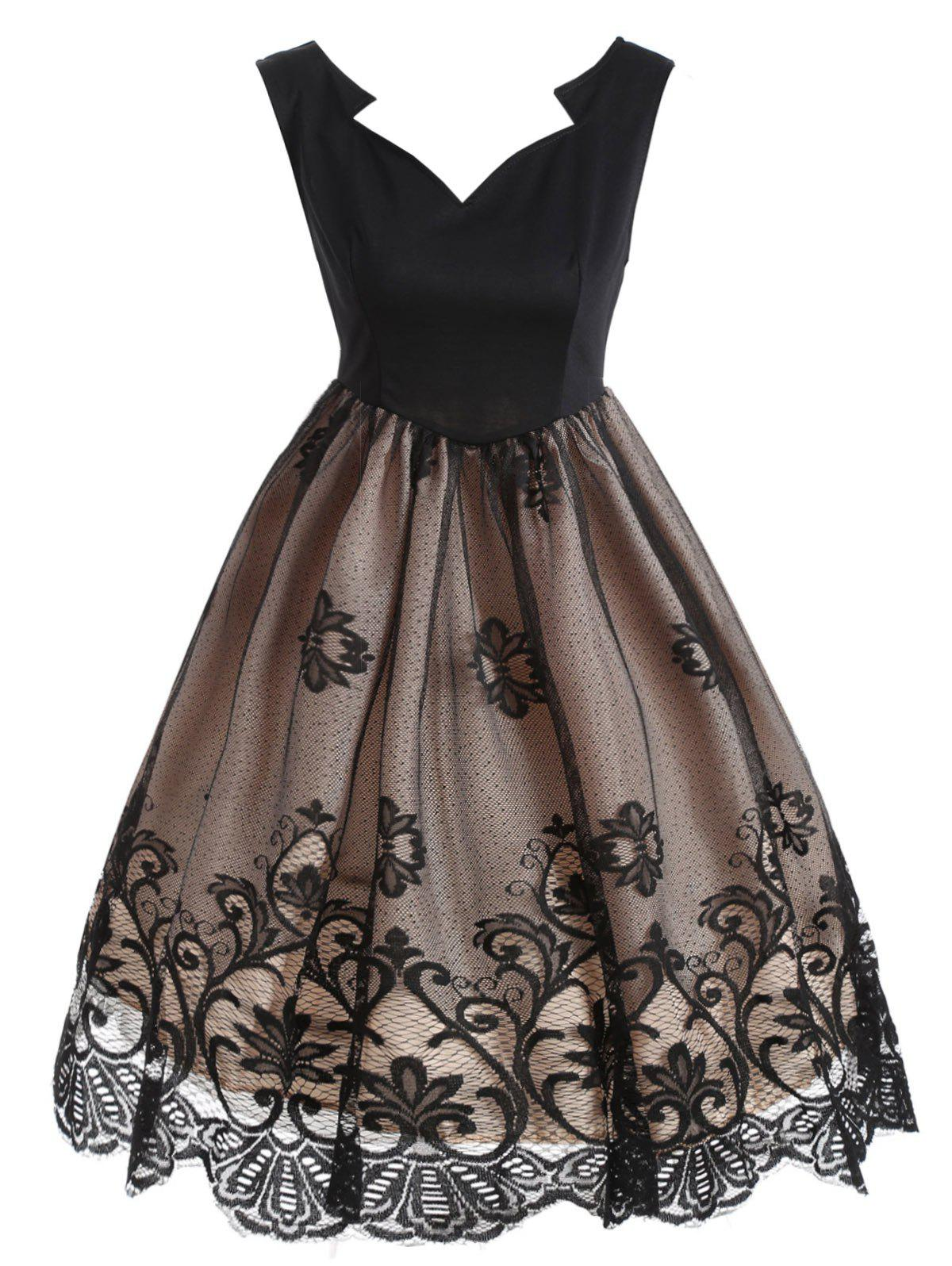 Floral Lace Scalloped Vintage Dress - KHAKI S