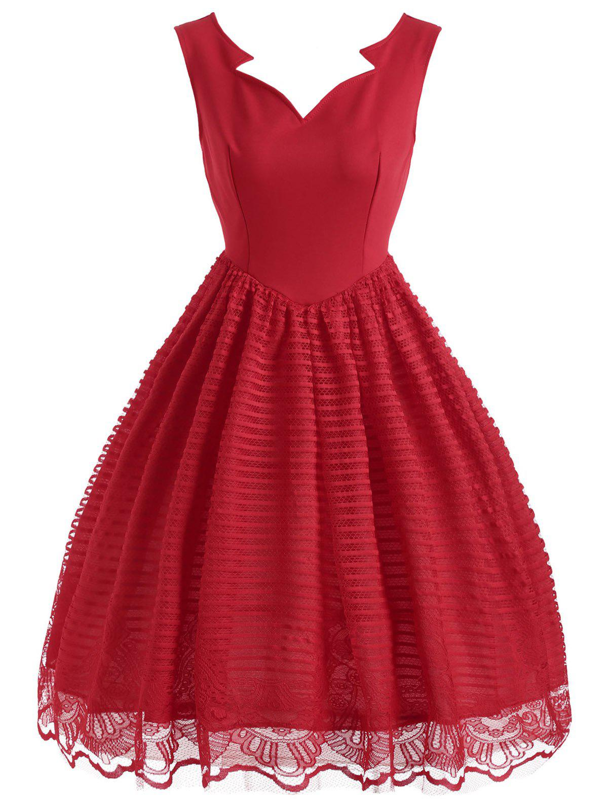 Sleeveless Striped Lace Vintage Dress - RED M