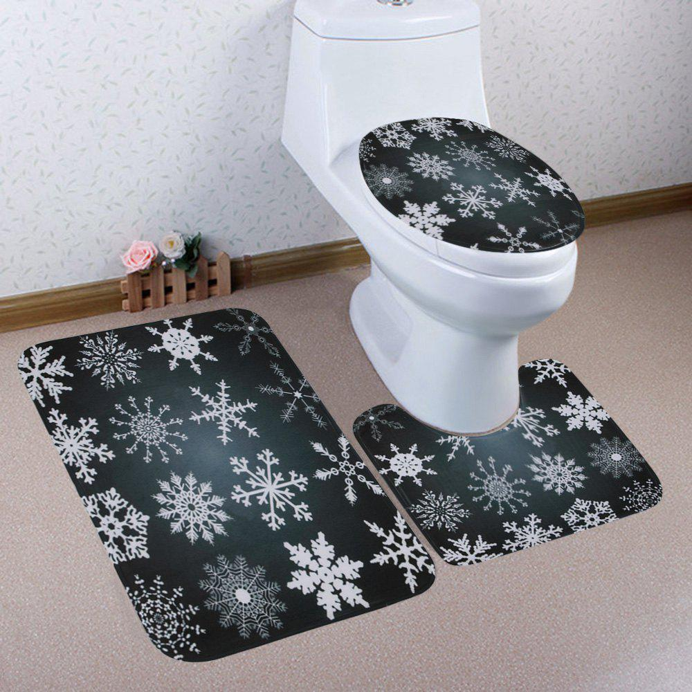 Christmas Snowflake Pattern 3 Pcs Bathroom Toilet Mat - BLACK GREY