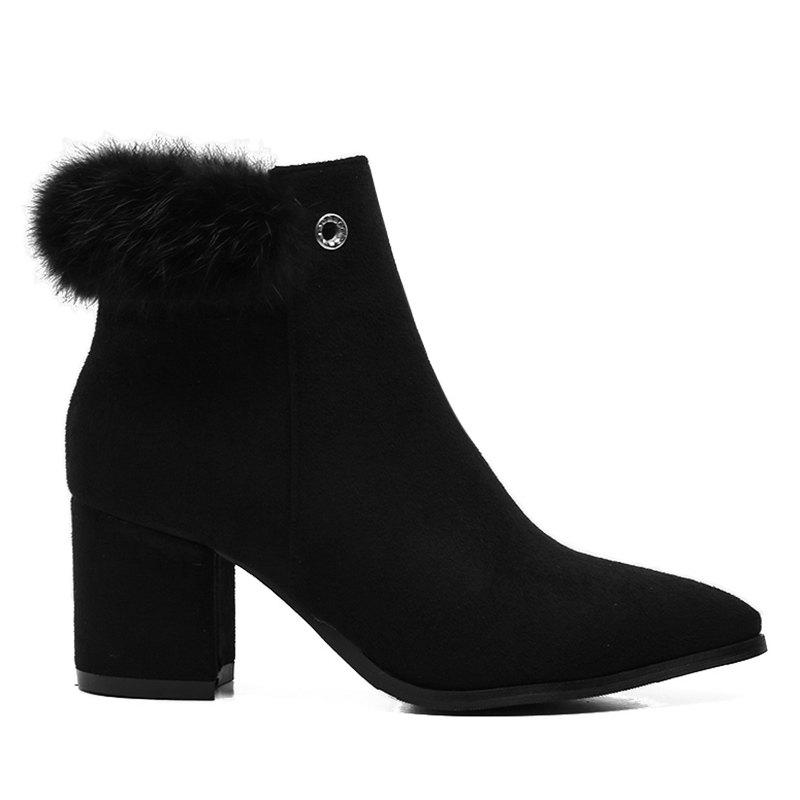 Fur Embellished Pointed Toe Chunky Heel Boots - BLACK 39/7.5