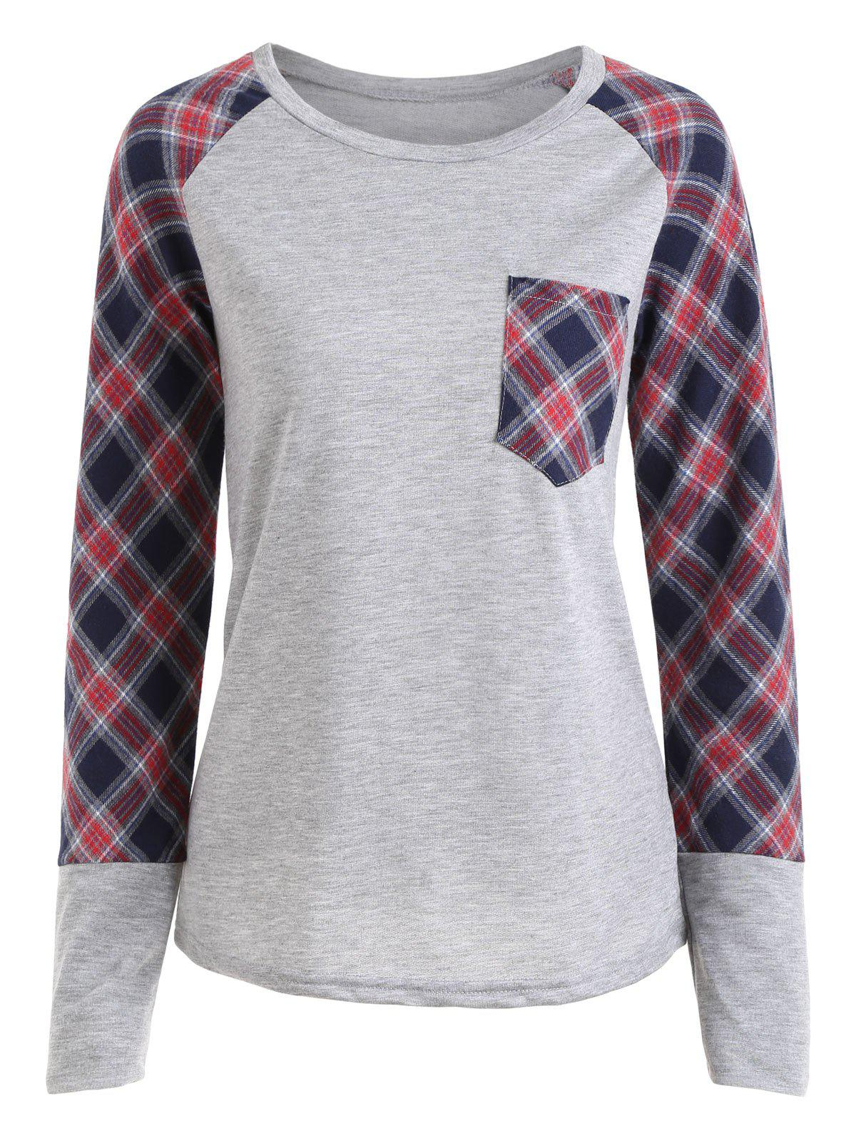 Plaid Raglan Sleeve Pocket Top - GRAY XL