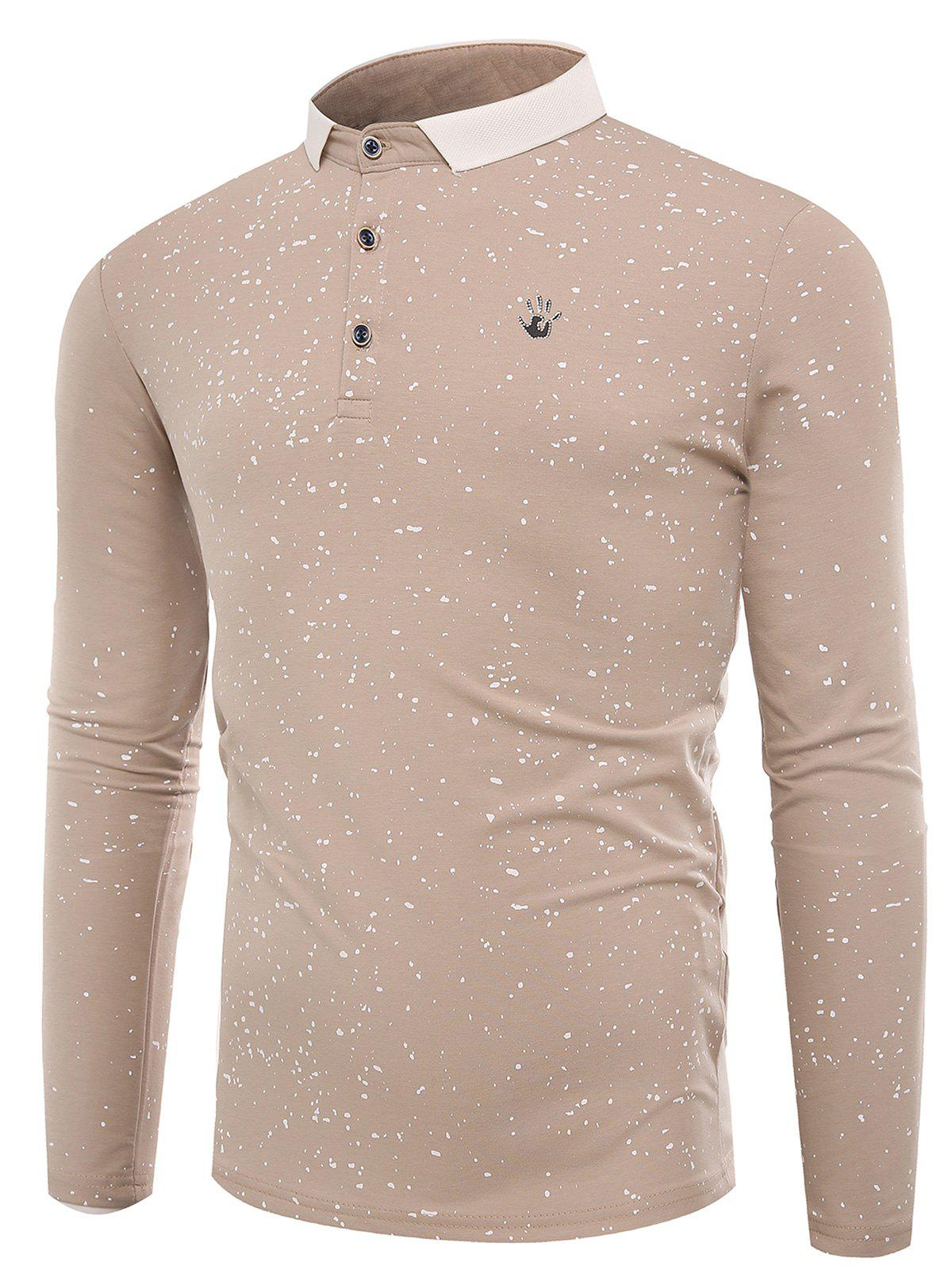 Splatter Paint Long Sleeve Polo T-shirt - APRICOT 3XL