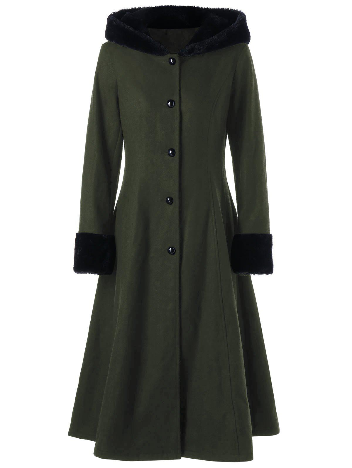 Lace Up Longline Hooded Coat - OLIVE GREEN 2XL