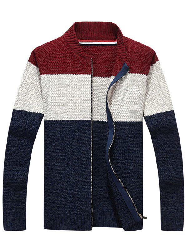 Zip Up Stand Collar Striped Sweater - PURPLISH BLUE M