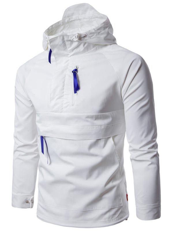 Half Zip Kangaroo Pocket Ribbon Hooded Jacket - WHITE XL