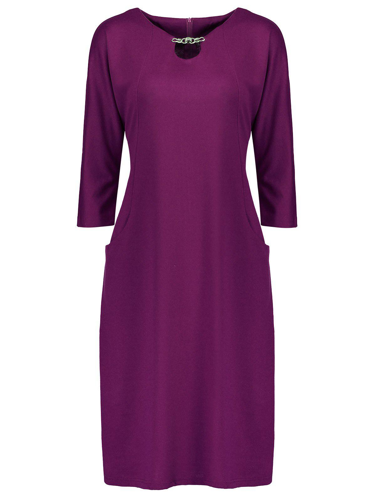 Plus Size Fitted Dress with Pockets - PURPLE 4XL