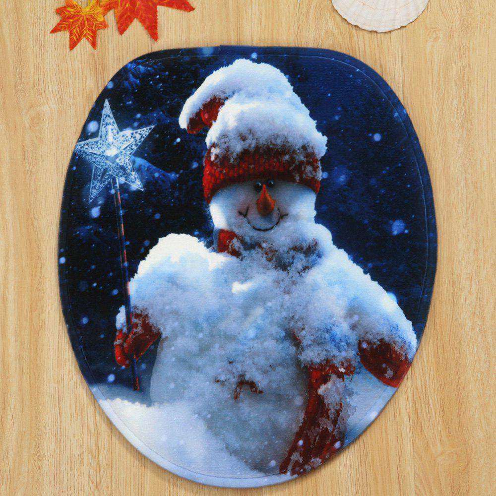 Christmas Snowman Star Pattern 3 Pcs Bathroom Toilet Mat - COLORMIX