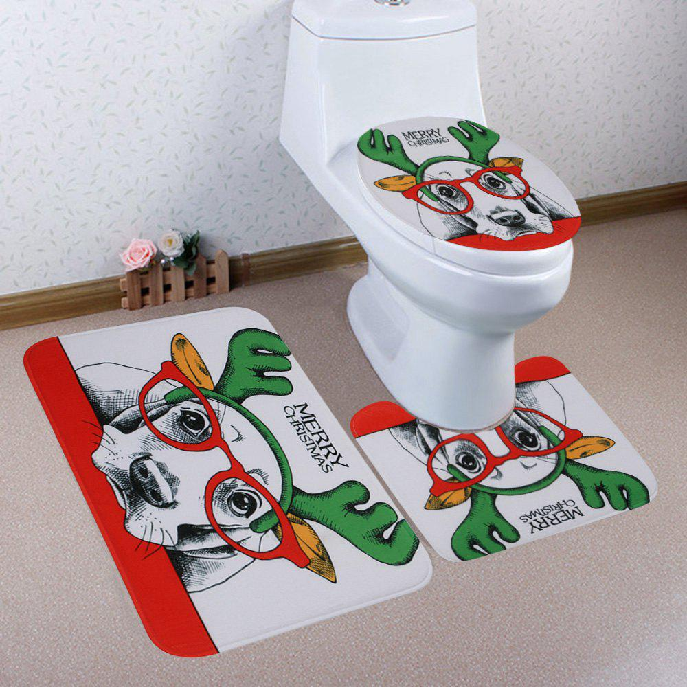 Christmas Dog Pattern 3 Pcs Bathroom Toilet Mat halloween bloody hand pattern 3 pcs bathroom toilet mat