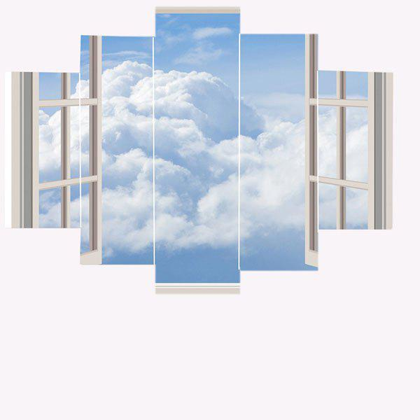 Window Cloud Print Unframed Painting - GRAY 1PC:8*20,2PCS:8*12,2PCS:8*16 INCH( NO FRAME )